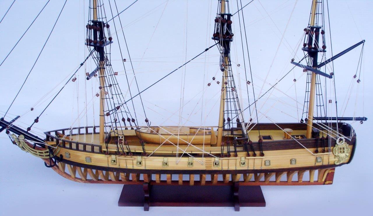 2097-12858-USS-Rattlesnake-Ship-Model-with-Frame-Hull